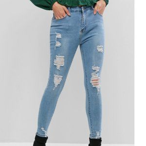 ZAFUL Blue Distressed Skinny Jeans